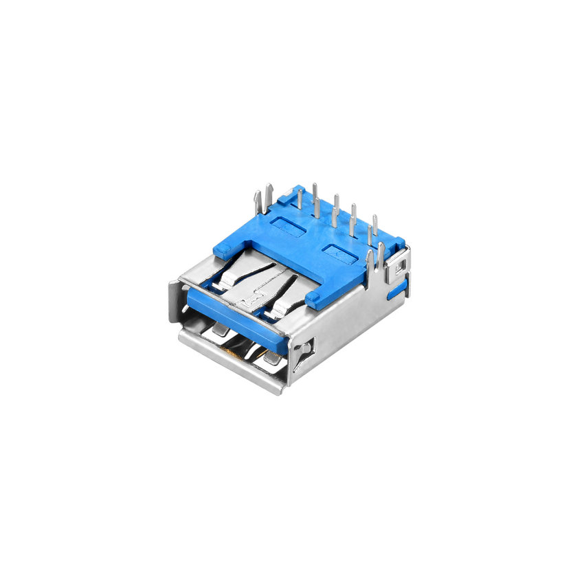 USB 3.0 A-type, Female, Reverse Right Angle DIP, Harpoon Feet Type, Non Roll Edge, I/O Connector